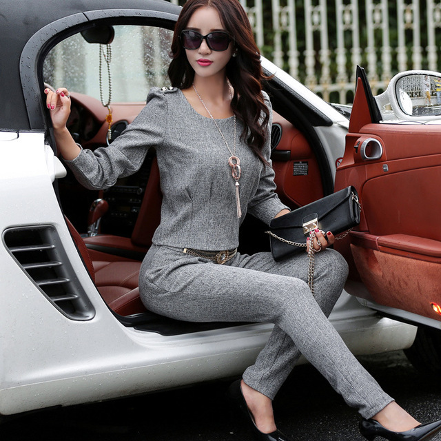 Europa conjunto de outono nova moda feminina feminino calças paletó fino feminino de duas peças terno do lazer.
