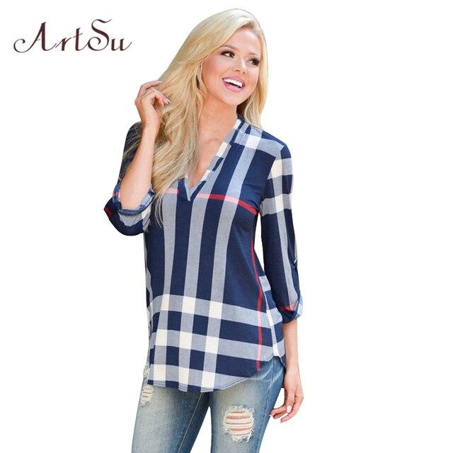 ArtSu Плед Блузки Рубашки Вскользь Blusa V-образным Вырезом Топы Рубашки Blusas Mujer Случайные 2017 Плюс Размер Женщин Clothing ASBL50003