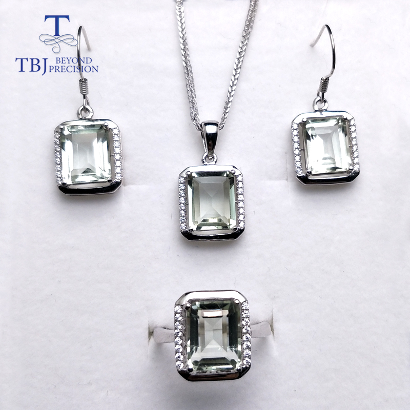 TBJ,natural green amethyst quartz gemstone jewelry set in 925 silver classic ring pendant earring gemstone jewelry for women momTBJ,natural green amethyst quartz gemstone jewelry set in 925 silver classic ring pendant earring gemstone jewelry for women mom