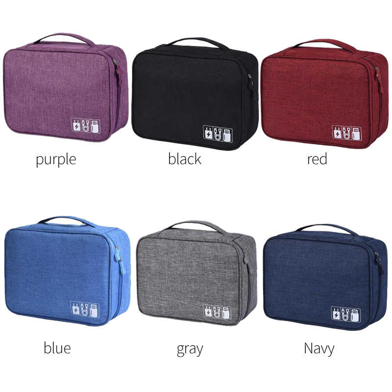 Wohlbege Electronic Accessories Travel Bag Polyester Mens Travel Organizer For Date Line SD Card USB Cable Digital Device Bag