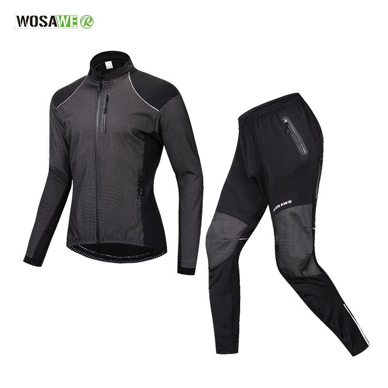 WOSAWE Winter Warm Cycling Clothing Men Long Sleeve Bicycle Jersey Set Sport MTB Wear Windproof Road