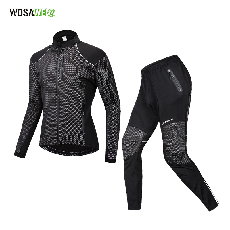 WOSAWE Winter Warm Cycling Clothing Men Long Sleeve Bicycle Jersey Set Sport MTB Wear Windproof Road Bike Clothes Riding SuitWOSAWE Winter Warm Cycling Clothing Men Long Sleeve Bicycle Jersey Set Sport MTB Wear Windproof Road Bike Clothes Riding Suit