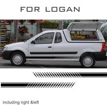 2 PC Gradient side stripe graphic Vinyl sticker for Dacia Logan