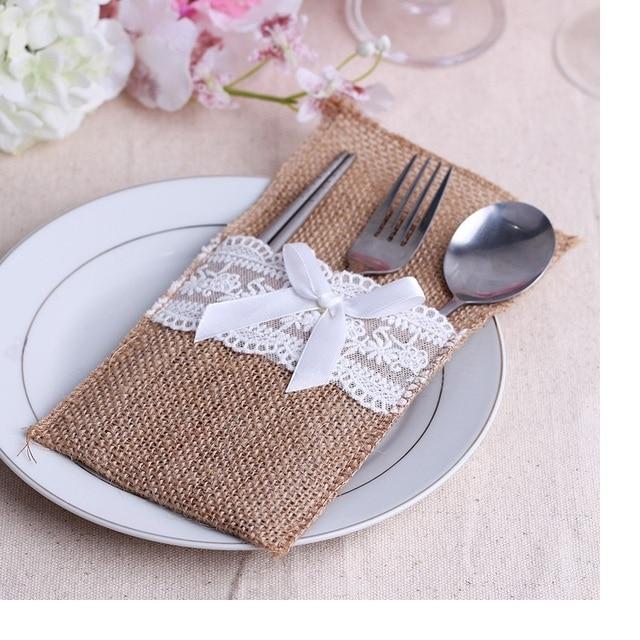 US $239.2 8% OFF|240 teile/los Vintage Shabby Chic Jute Sackleinen Spitze  Hochzeit Geschirr Tasche Bestecktasche Rustikale Hochzeit Tischdekoration  ...
