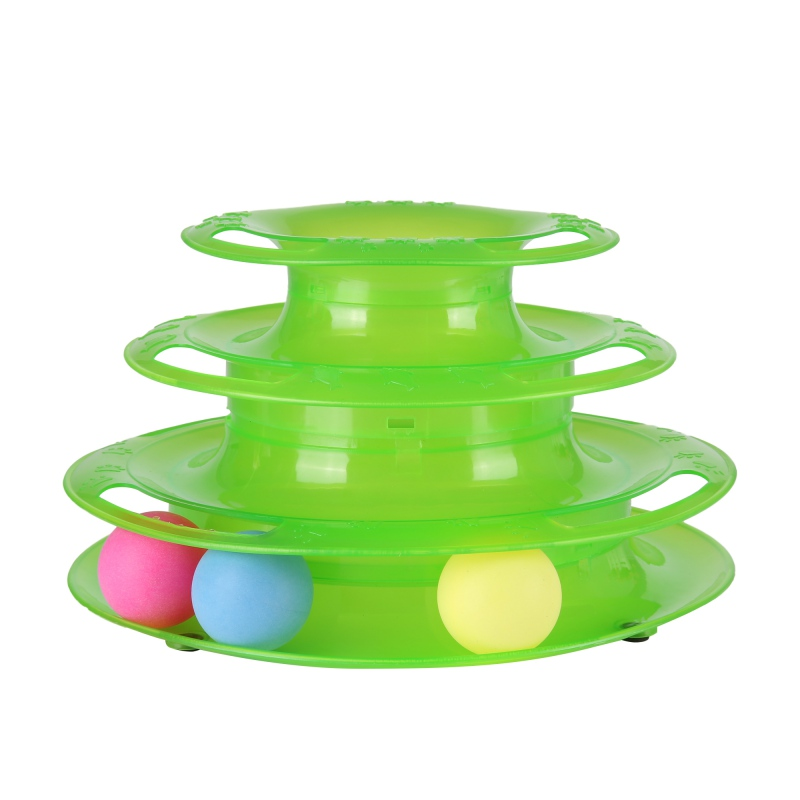 Funny Pet Toys Cat Crazy Ball Disk Interactive Amusement Plate Play Disc Trilaminar Turntable Cat Toy For Pet