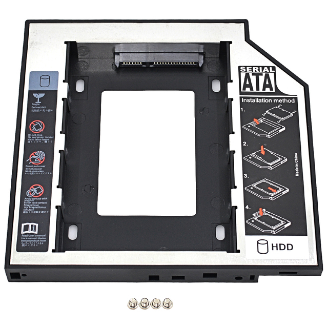 """CHIPAL Universal 2nd HDD Caddy 12.7mm SATA 3.0 2.5"""" 1TB SSD Hard Disk Case Enclosure with LED Indicator for Laptop CD-ROM ODD"""