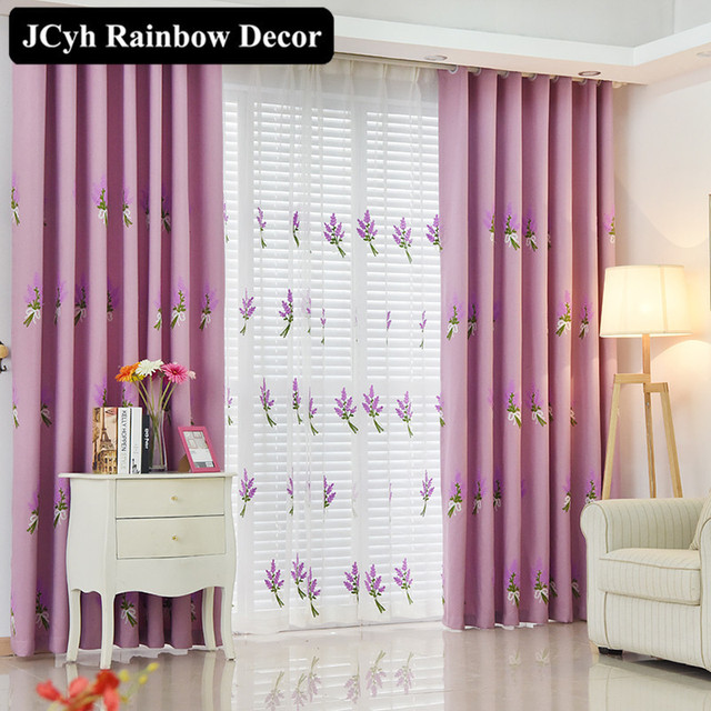 Lavender Embroidered Curtains For Living Room Rustic High Quality Blinds  Window Curtains For Bedroom Purple Rideaux