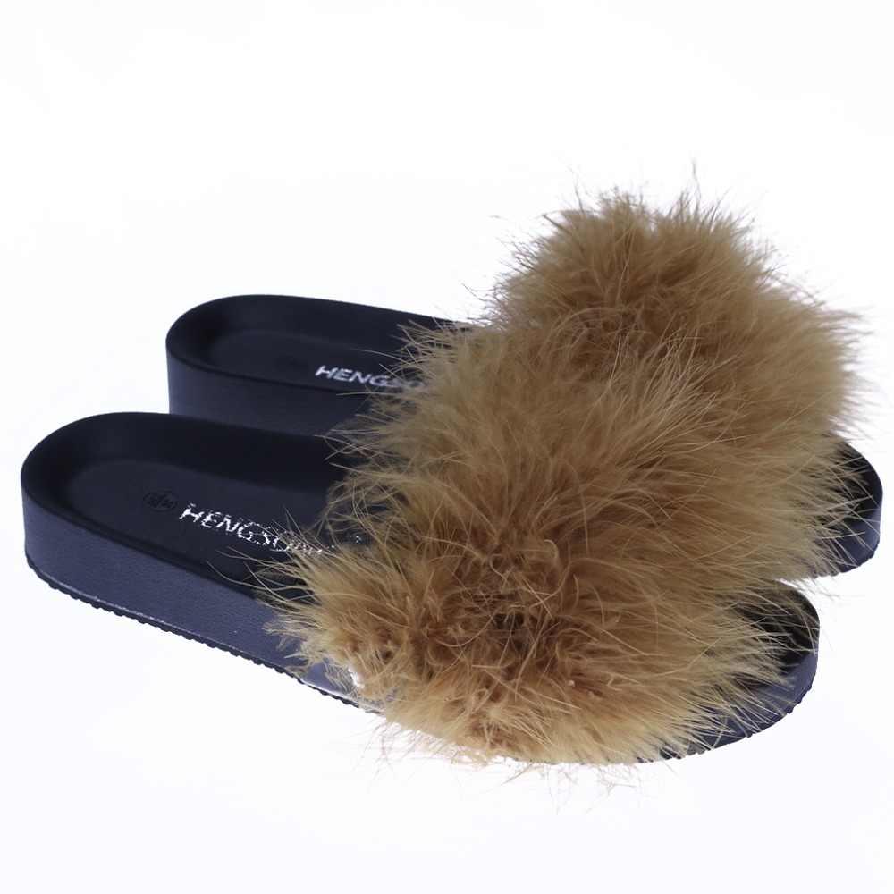 cab3d38c01a115 HENGSONG Women Fur Slippers Furry Slide Ostrich Feather Home Slippers  Fashion Flip Flops Beach Sandals Summer