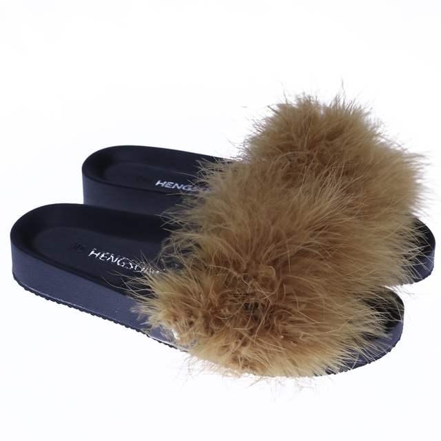 bad89d6213d HENGSONG Women Fur Slippers Furry Slide Ostrich Feather Home Slippers  Fashion Flip Flops Beach Sandals Summer
