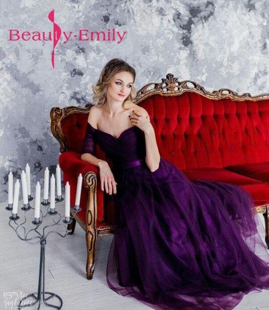 Long Purple Red Gray Cheap   Evening     Dresses   A-Line Off the Shoulder Half Sleeve Vestido de noite Custom Made