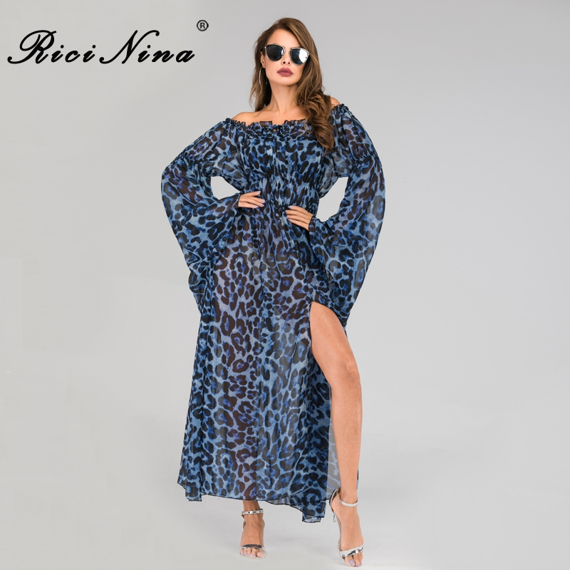 Slash Neck Long Sleeve Sexy Long Dress 2