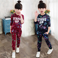 Girls Sports Suits Graffiti Letter Clothing Sets For Girls Tracksuits Cotton Spring Sportswear Outfits 4 5 6 7 8 9 10 11 12 Year