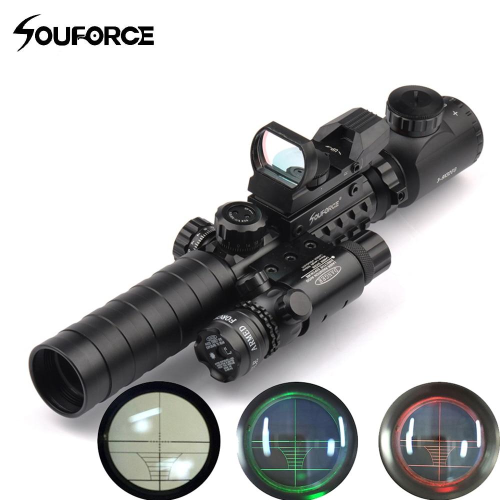 Portée tactique Combo 3-9X32YG Lunette avec Longue Portée Red Dot Laser et Holographique Reflex Sight pour Fusil et Airsoft