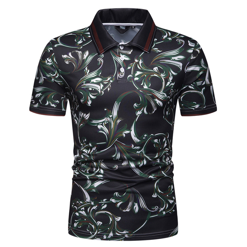 MarKyi fashion floral print mens   polo   shirts with short sleeve 2019 summer new shirt camisa   polo   masculina