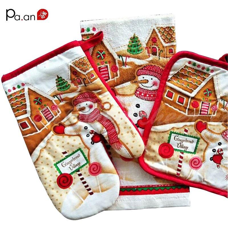 Hot sale 3 pcs Christmas series oven glove Santa Claus cartoon pattern cotton kitchen mittens mat