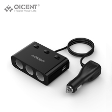 QICENT 3-Socket Cigarette Lighter Power Adapter DC Outlet Splitter with 2-Port 15.5W USB Car Charger LCD Screen – Black