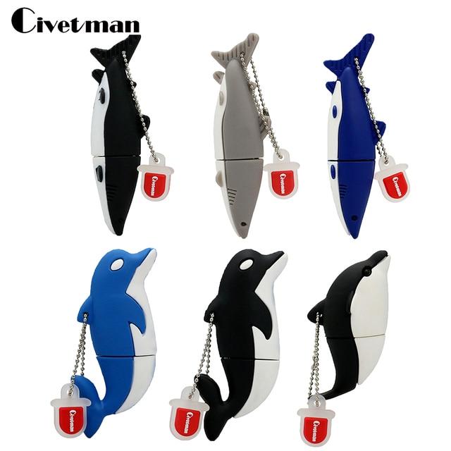 Civetman Pendrive Memory Stick 4 GB 8 GB 16 GB 32 GB 64 GB USB Flash Drive Lindo Dolphin/ballena/Tiburón U Disco de la Historieta Encantadora Pen Drive