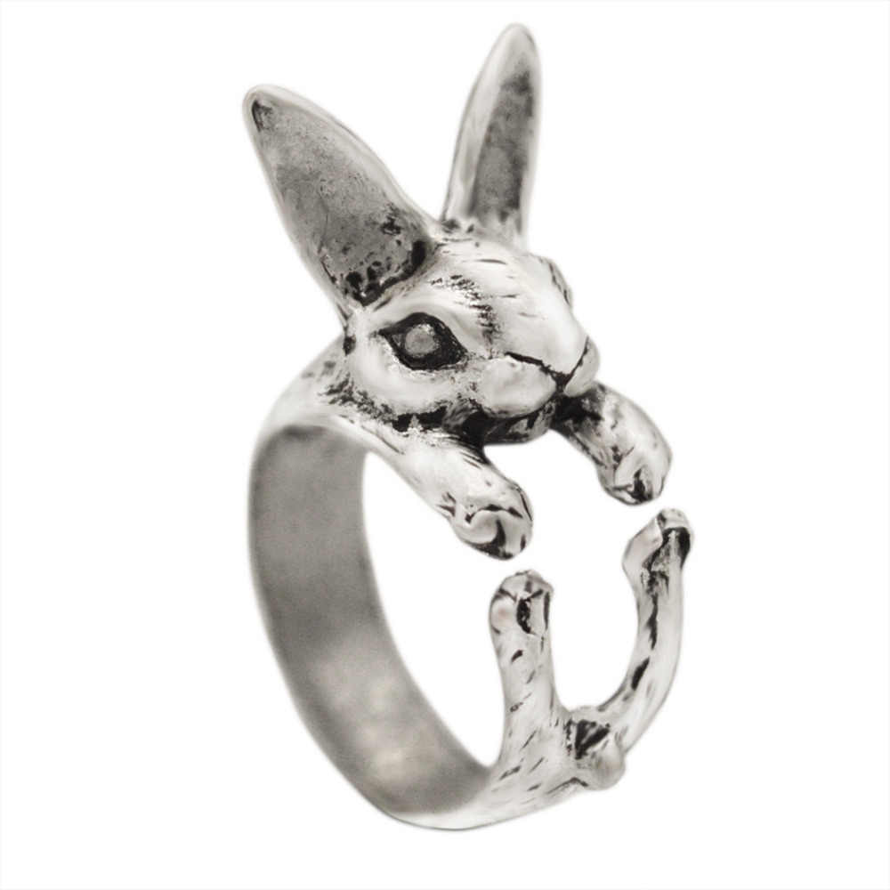 Kinitial 1Pcs Antique Bronze Black Adjustable Rabbit Ring Hippie Chic Vintage Animal Bunny Rings Jewelry for Pet Lovers anillos
