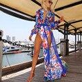 Encobrimentos impressão Flor Vestido de Verão 2017 Chiffon Plus Size Swimwear do Biquini Das Mulheres Maiô Sexy Long Beach