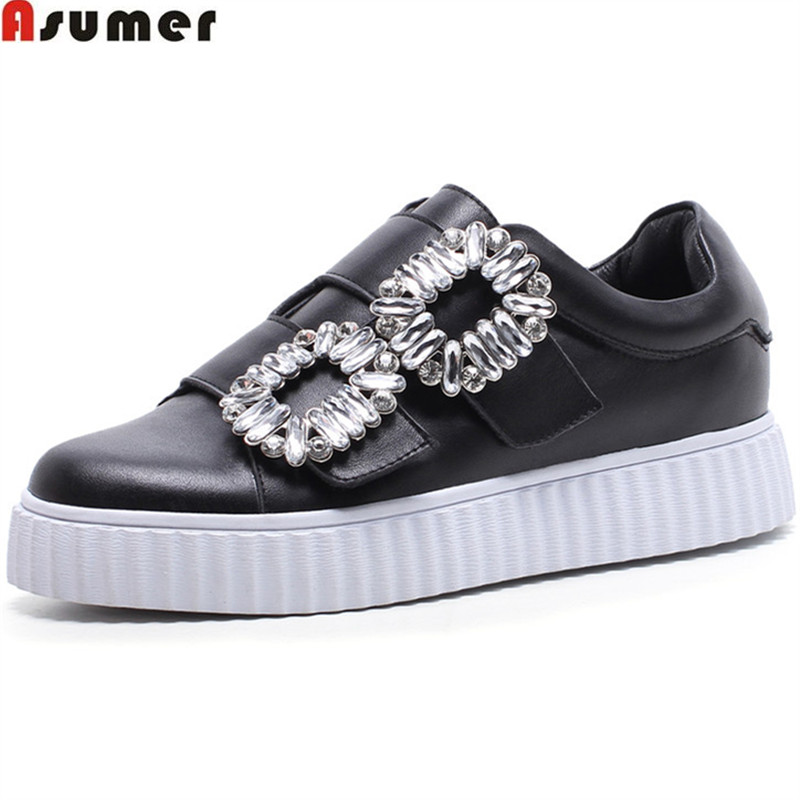 ASUMER black fashion spring autumn flat shoes woman round toe casual comfortable women genuine leather shoes sneakers flats asumer black fashion spring autumn ladies shoes round toe lace up casual women flock cow leather shoes flats
