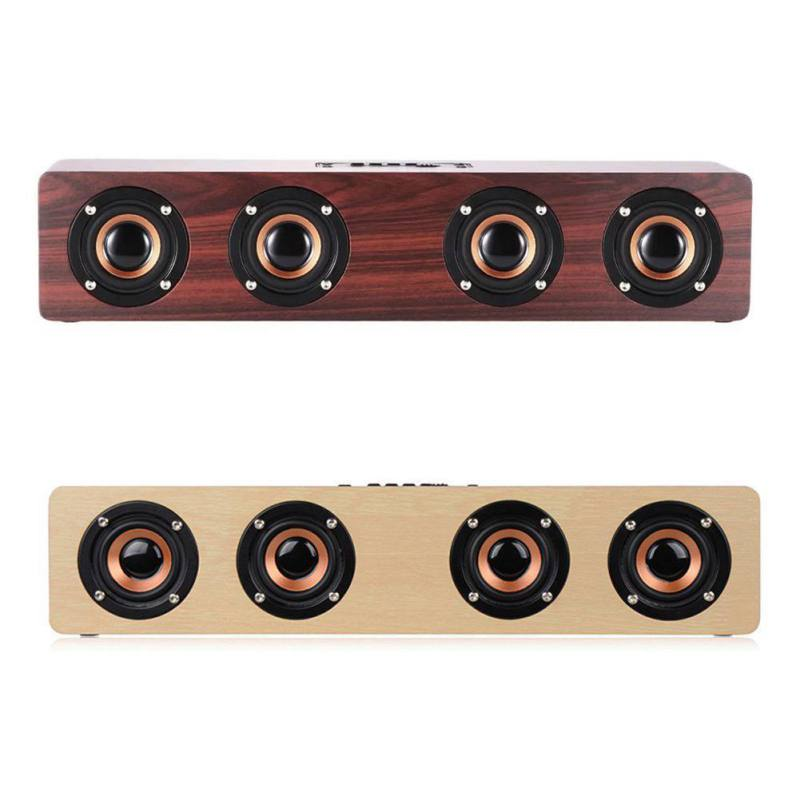 W8 Wooden Wireless Bluetooth Speakers Four Horns Subwoofer Portable Music Player TV Phone PC Speaker