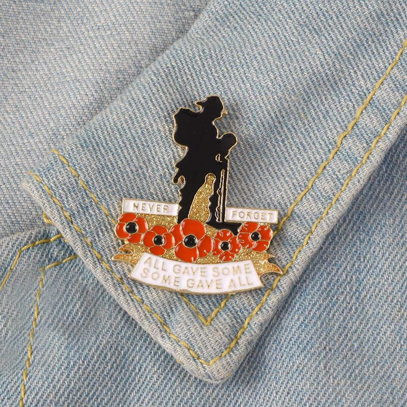 Inggris Hari Peringatan Veteran Militer Tentara Veteran Red Poppy Kerah Pin Kerajaan Inggris Legiun Poppy Lencana Bros Perhiasan