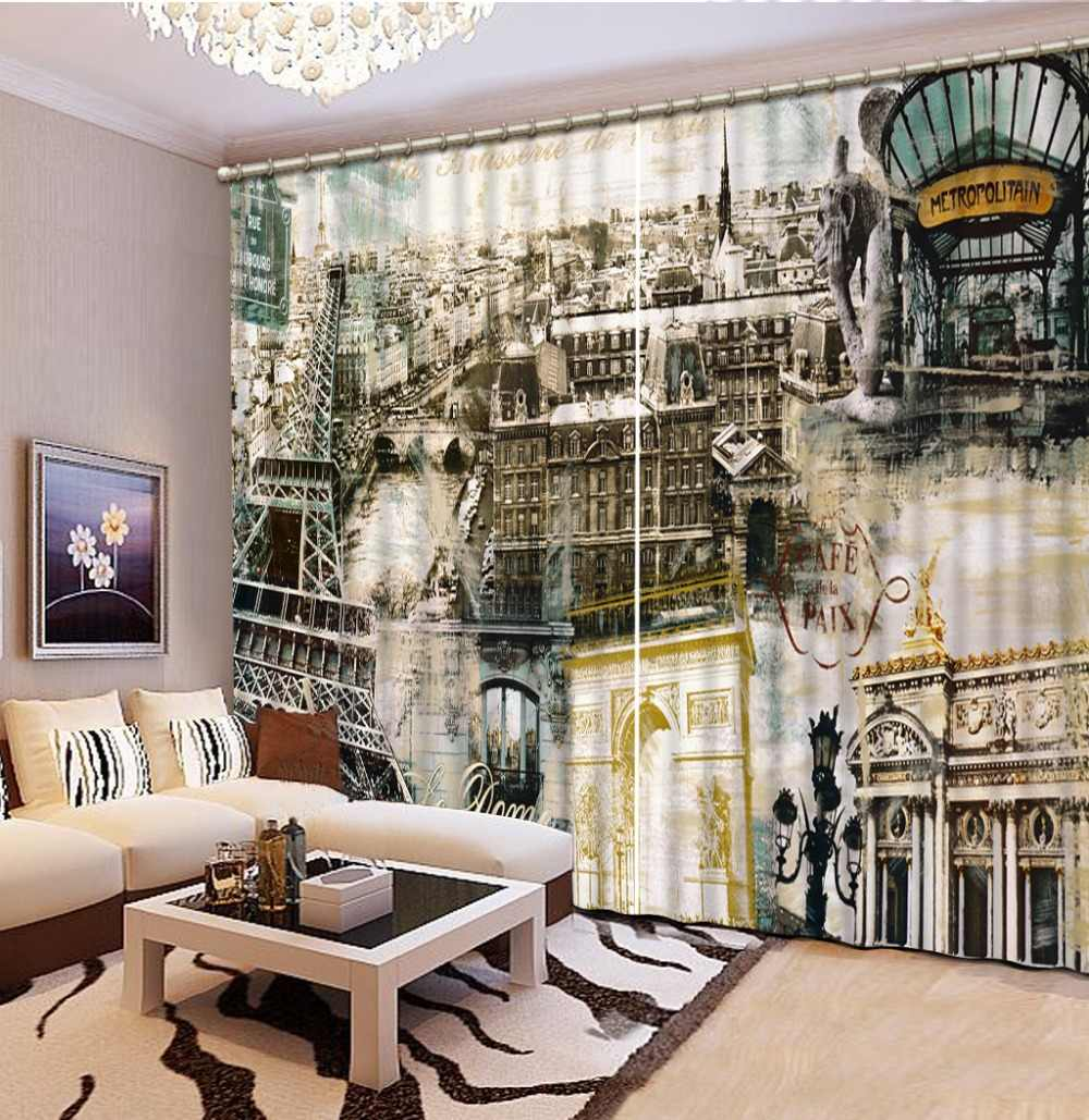 Retro building Curtains For Bedroom Blackout 3D Curtain Beautiful Photo Customize Size 3D Living Room Curtains
