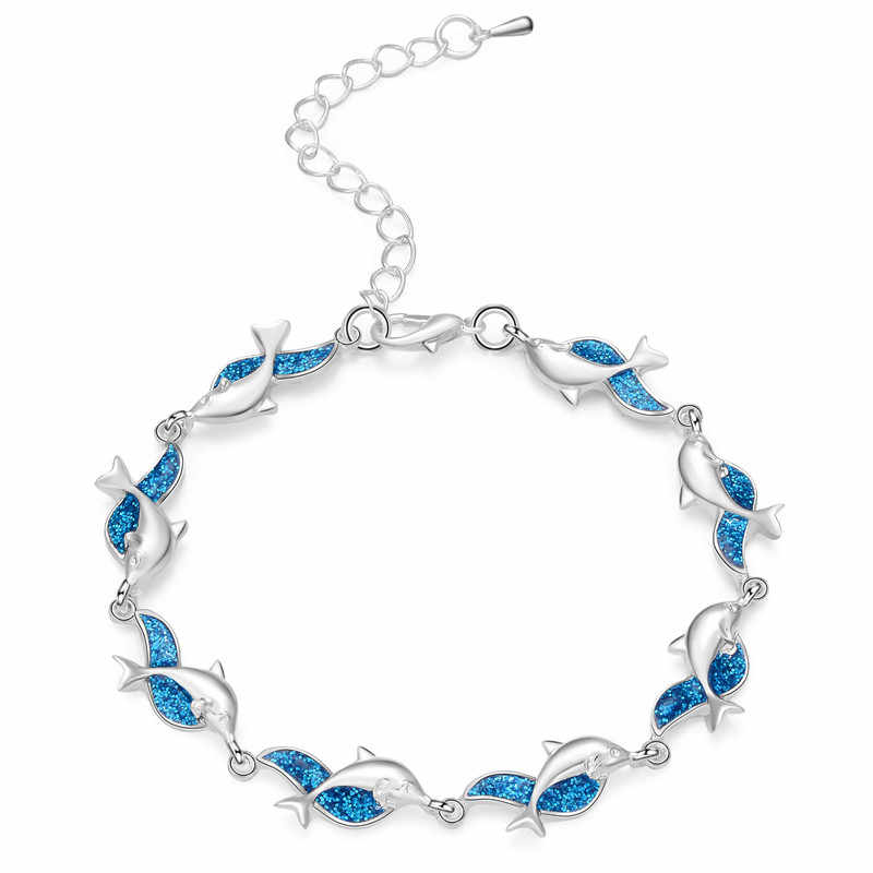 Charm Summer Dolphin Turtle Bracelet High Quality Blue Opal Silver Color Hand Chain Beach Jewelry Bracelet Femme 2018 Bijoux
