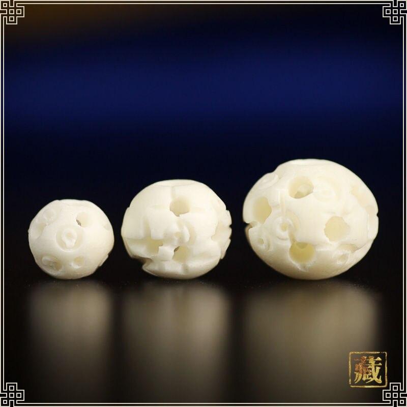 10pcs White Yak Bone Hollow Flower Ball Loose Beads Lu Lu Tong Tibet Hand Carved Beads 6mm 8mm 10mm 12mm Tsb0334 Leather Bag
