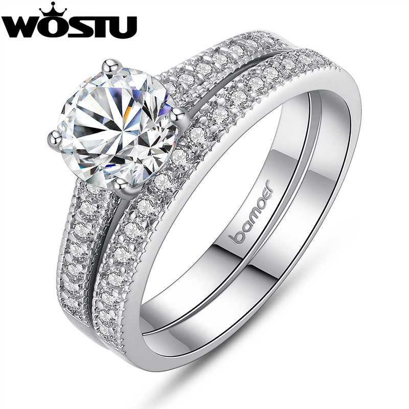 brand luxury platinum plated two ring sets for women lady with aaa cz diamond wedding rings jewelry fast shipping - Cheap Wedding Rings Sets