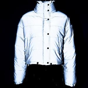 Image 5 - Veste dhiver réfléchissante à col roulé pour femme, manteau court argenté, rembourré, mode, nuit brillante