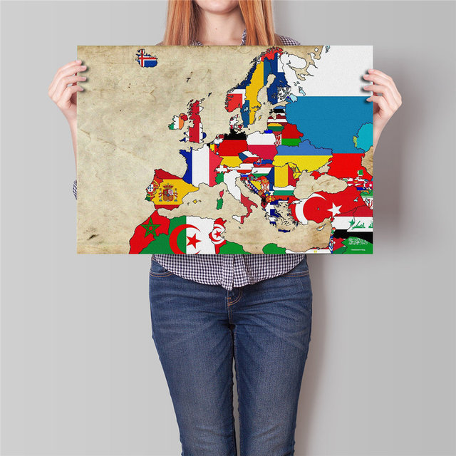 Nostalgia map europe old vintage flag poster print retro paper poster vintage painting living room wall
