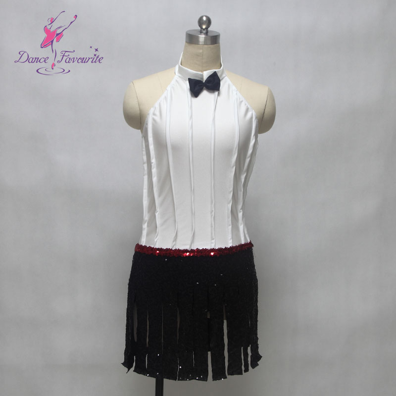 White spandex bodice top with sequin spandex skirt ballet costume jazz/tap dance costume women & girl stage performance costume