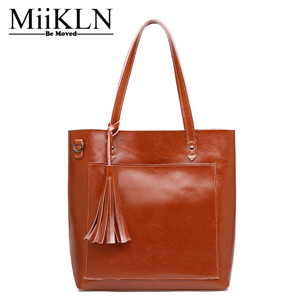 цены на MiiKLN Women Shoulder Bags Cow Leather Casual Tote Solid Handbag Simple Split Leather Bag