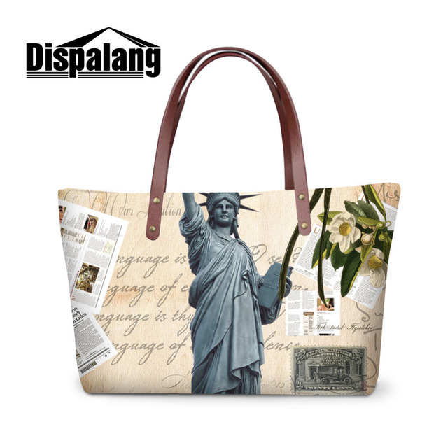 Statue Of Liberty Printed Women Tote Bag Flower Handbags For Working Shoulder Office