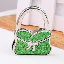 Green Folding Handbag Lady Purse Hanger Bag Table Hook Holder Bowknot Decor
