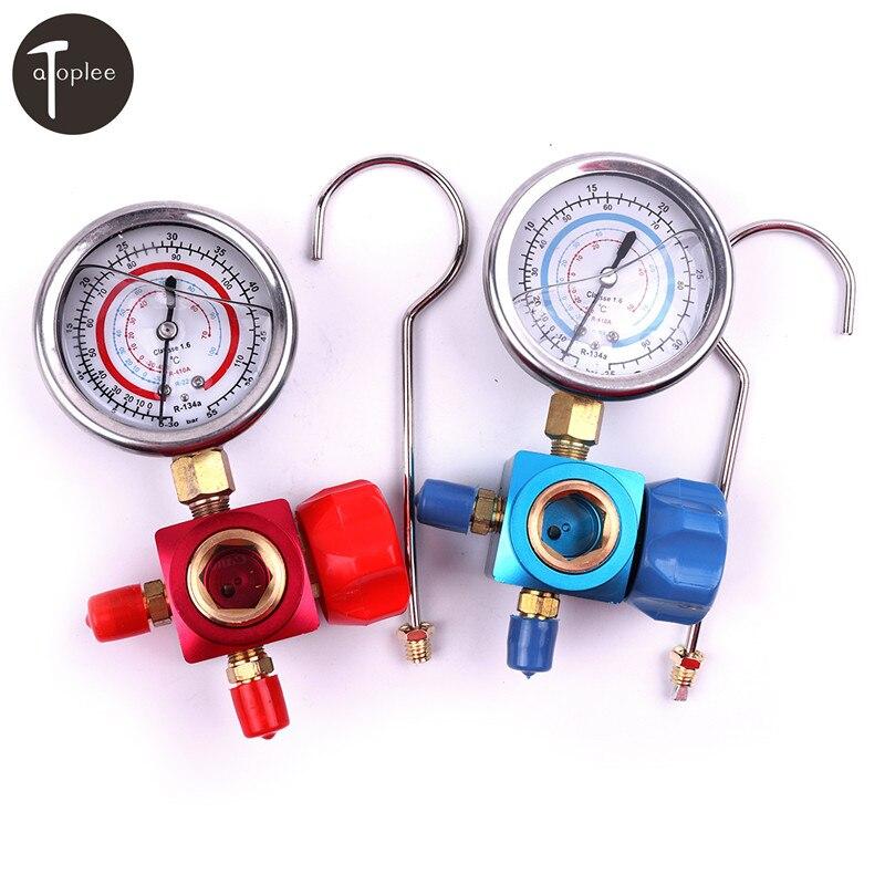 1 pcs R410A R22 R134A Réfrigérant Haute/Basse Pression Jauge 1/4 Voiture Automatique Climatisation Réfrigérant Manomètre Outil rouge/Bleu