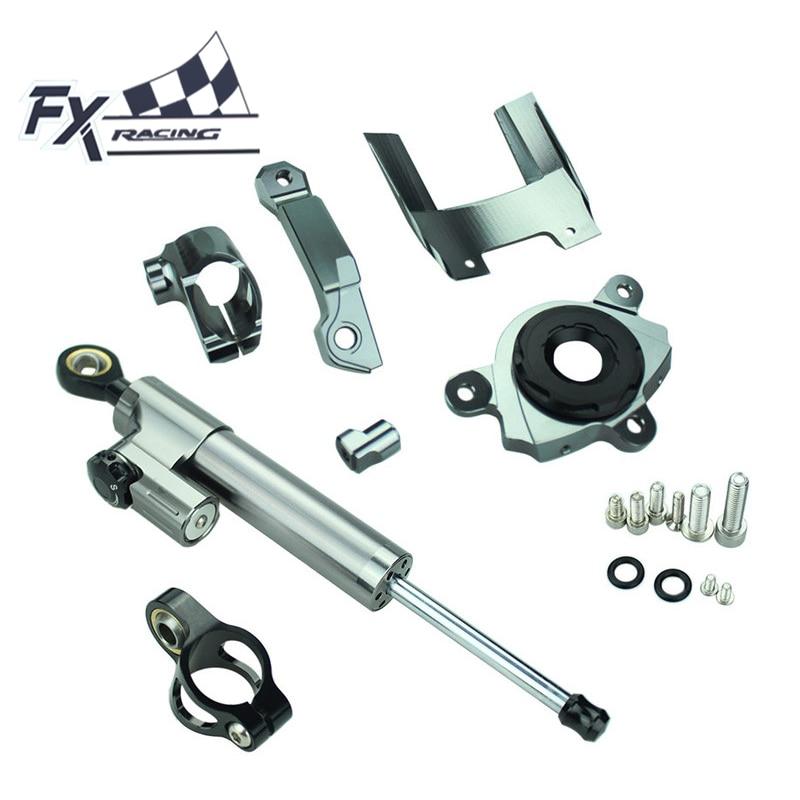Фотография FX Aluminum Motorcycle Steering Stabilizer Damper Mounting Bracket Complete Set For Kawasaki Z1000 2016-2017 Moto Support Kit