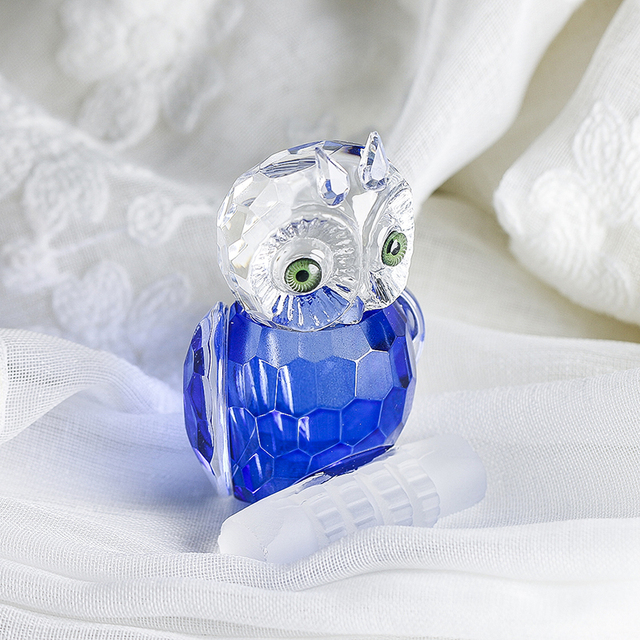 H&D Cute Crystal Owl Figurine Miniatures Art Glass Paperweight Animals Table Centerpiece Ornament Home Decor Kid's Gift(Blue) 2
