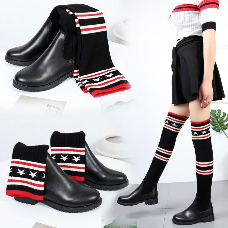 La Genou Automne Chaussures Cuisse Chaussons 2018 6 3 De Femmes Bottes Dame Femme Snow Hiver boots Plus Casual Chelsea Luxe 2 Botte 5 1 4 Bota mNnw80