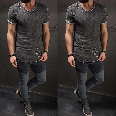 a2e4fe20f6ca Ripped Shirts Men Tee Shirt Slim Fit O Neck Short Sleeve Shirts Muscle  Casual Tops Boy Cotton T Shirts-in T-Shirts from Men s Clothing on  Aliexpress.com ...