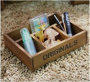 Retro Wooden Tray cosmetics Storage Box Home Decoration
