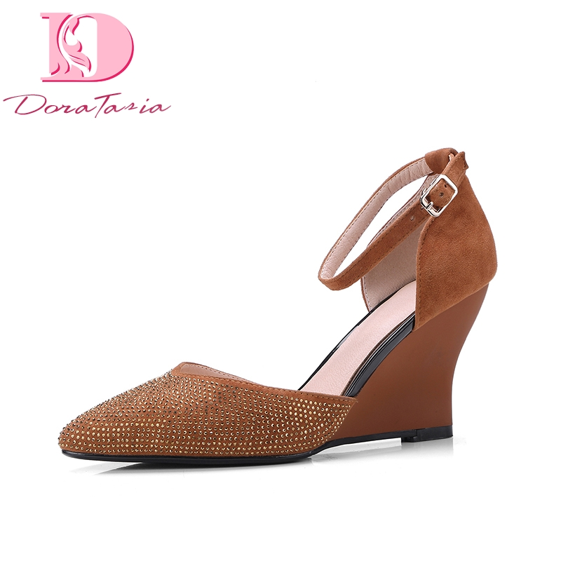 DoraTasia Plus Size 34-43 Kid Suede Genuine Leather Woman Shoes Bling Wedges High Heel Women Shoes Summer Pumps doratasia plus size 36 43 cow genuine leather woman shoes pointed toe wedges high heel women shoes summer pumps
