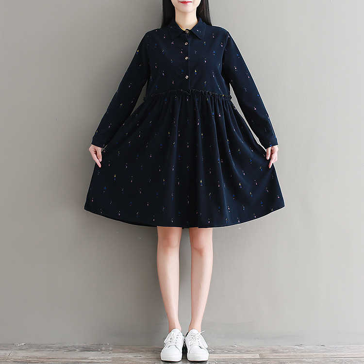 Camisa das mulheres Doce Kawaii Vestido Mori Meninas Turn Down Collar Casual Lolita Vestido Completo Manga Vestidos de Primavera Do Vintage Túnica T438