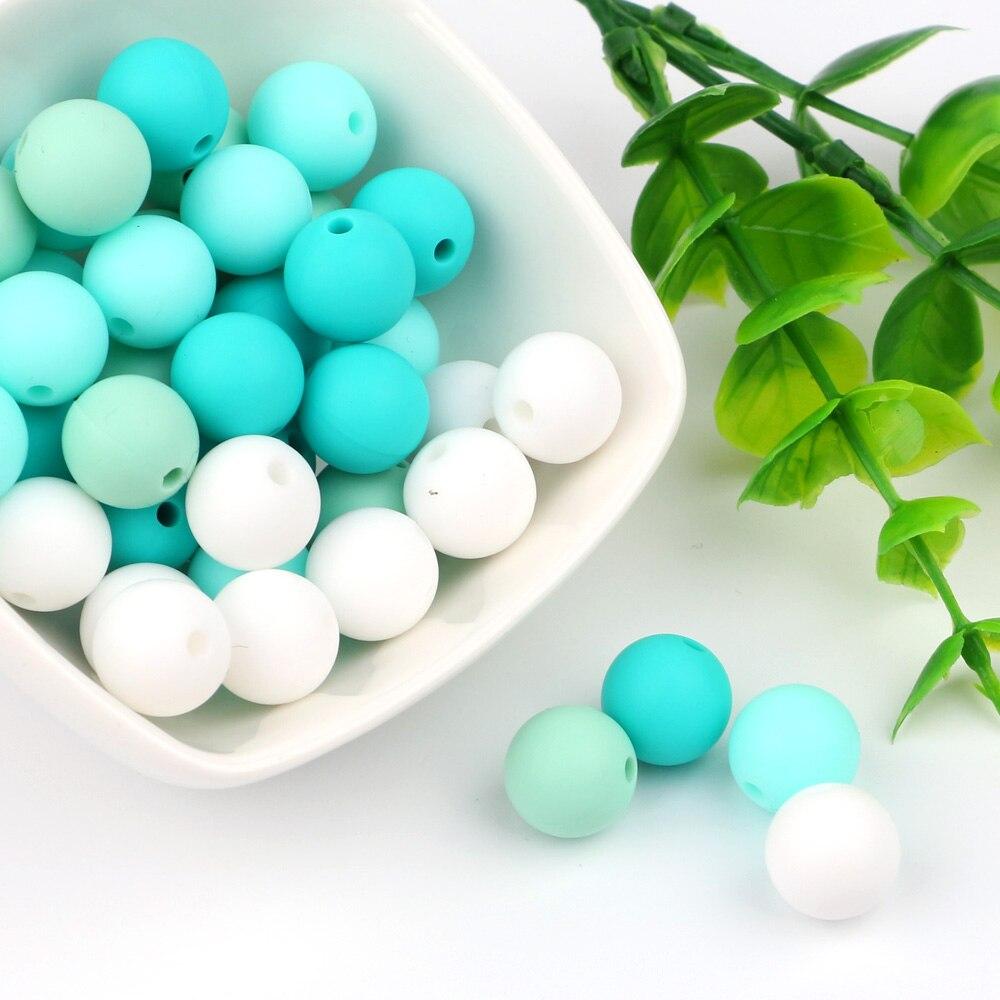 TYRY.HU 15mm 10pc Baby Chewable Food grade Silicone Beads Teething Pacifier Chai
