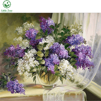 Mosaic Pattern Beaded Embroidery Purple And White Lilac Flower Vase Full 5d Drill Diamond Painting Decoration