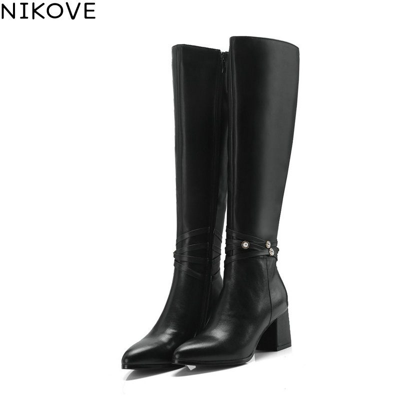 NIKOVE 2019 Winter Boots Genuine Leather Women Over The Over The Knee Boots Fashion Round Toe Casual Women Boots Size 33-39NIKOVE 2019 Winter Boots Genuine Leather Women Over The Over The Knee Boots Fashion Round Toe Casual Women Boots Size 33-39