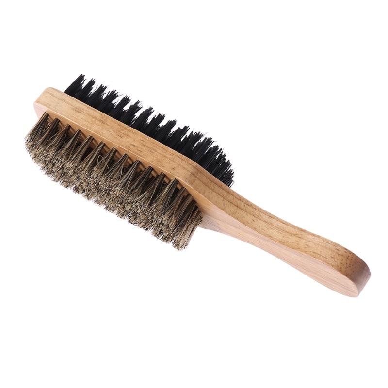 Men Double-Side Antistatic Hair Brush Wooden Handle Massage Facial Beard Styling