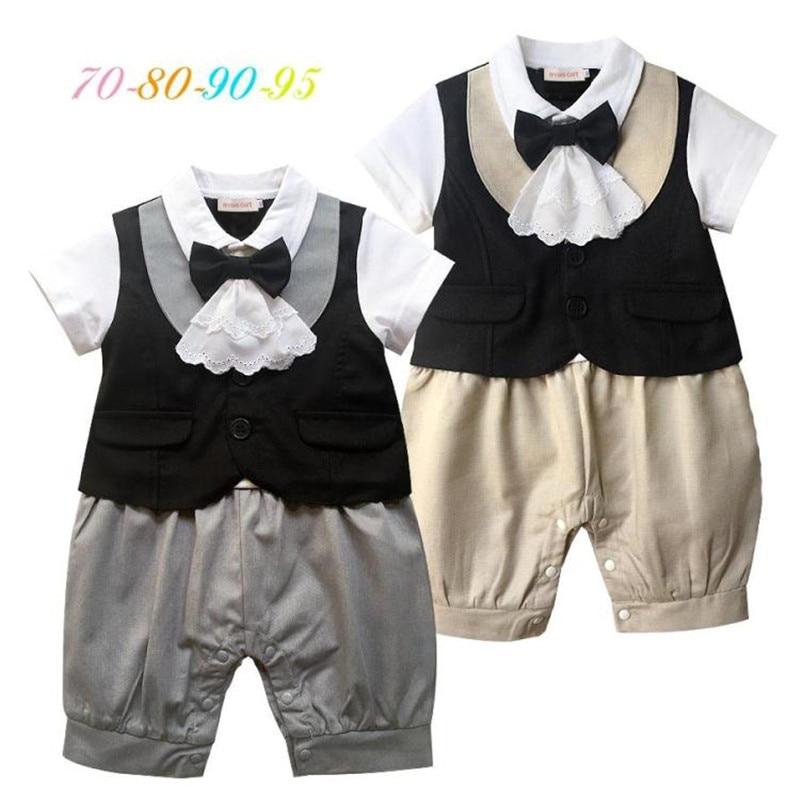 Baby Rompers Newborn Baby Boy Clothes 2018 Summer Infant Onesie Romper Gentlemen Lace Bowknot Jumpsuit