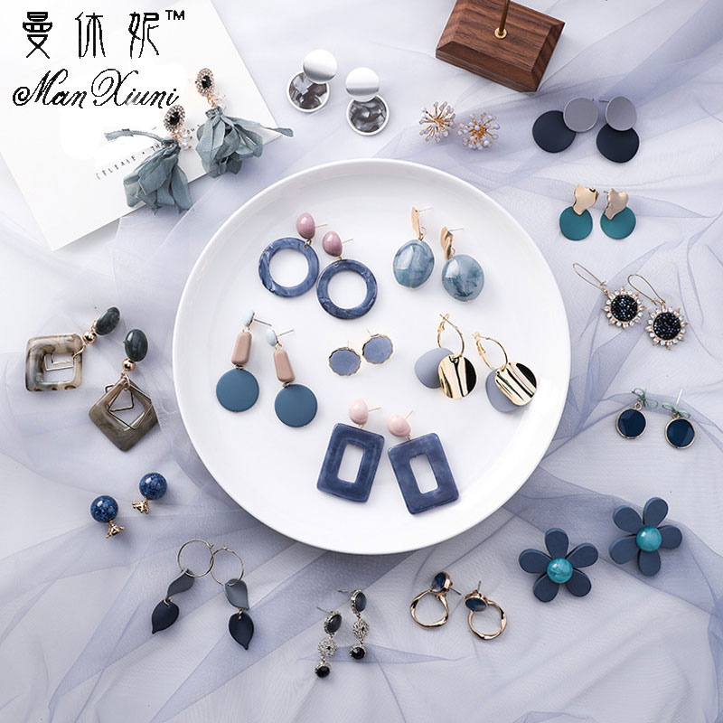 Korean Summer Blue Geometric Acrylic Irregular Hollow Circle Square Stud Earrings For Women Metal Bump Party Beach Jewelry